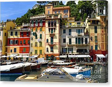 Harbor Scenic In Portofino Canvas Print by George Oze