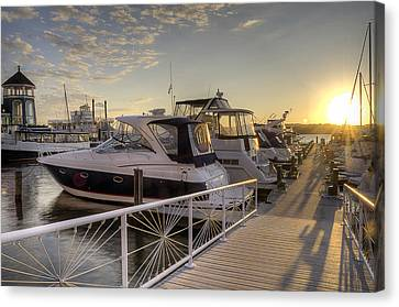 Canvas Print featuring the photograph Harbor Sunrise by Michael Donahue