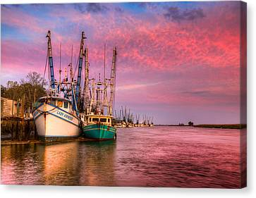 Harbor Sunset Canvas Print by Debra and Dave Vanderlaan