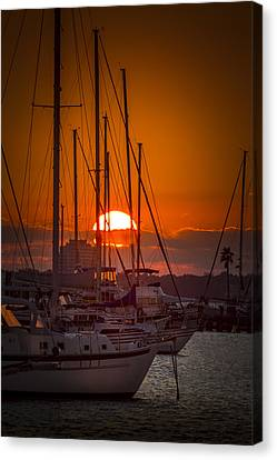 Shower Canvas Print - Harbor Sunset by Marvin Spates