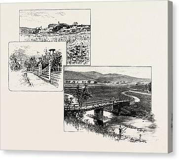 Harbottle Left, Alwinton Bridge Right Canvas Print by English School