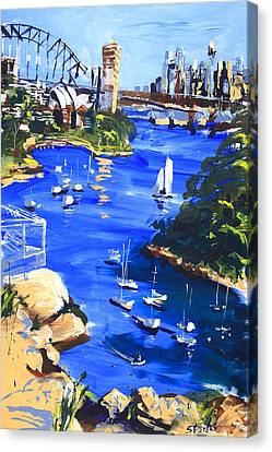 Harbour In Sun And Wind Canvas Print by Shirley  Peters