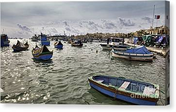 Harbour Of Marsaxlokk In Malta Canvas Print by Frank Bach