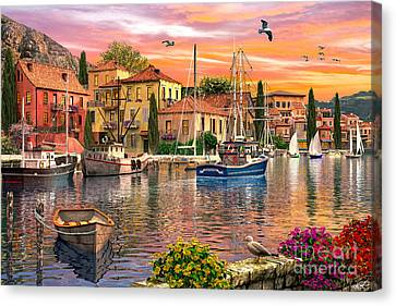 Row Boat Canvas Print - Harbour Sunset by Dominic Davison