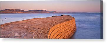 Harbour Wall At Dusk, The Cobb, Lyme Canvas Print