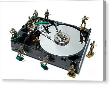 Component Canvas Print - Hard Drive Defense  by Olivier Le Queinec