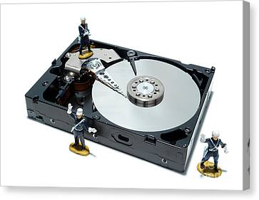 Component Canvas Print - Hard Drive Security by Olivier Le Queinec