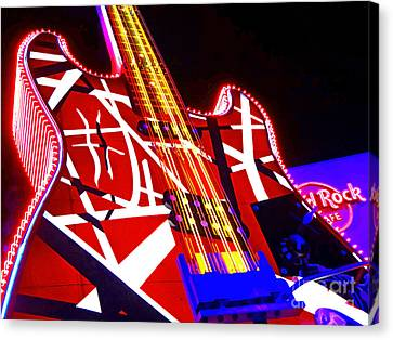 Hard Rock Glowing Guitar Canvas Print by Gem S Visionary