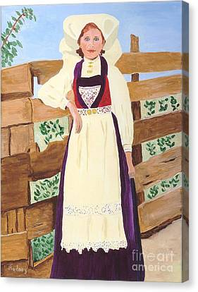 Canvas Print featuring the painting Hardanger Girl by Rodney Campbell