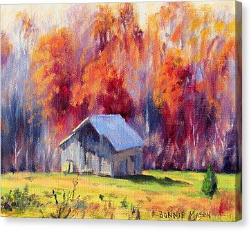 Hardy Road Barn- In Autumn Canvas Print by Bonnie Mason