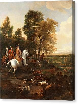 Hare Hunting Signed In Brown Paint, Lower Right Jwÿck Canvas Print by Litz Collection