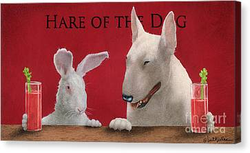 Bloody Mary Canvas Print - Hare Of The Dog...the Bull Terrier.. by Will Bullas