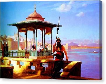 Harem In The Kiosk The Guardian Of The Seraglio 1870 Canvas Print by MotionAge Designs