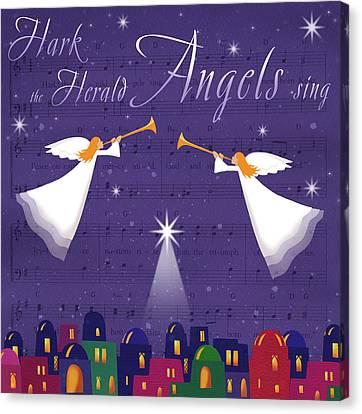 Nativity Canvas Print - Hark The Herald Angles by P.s. Art Studios