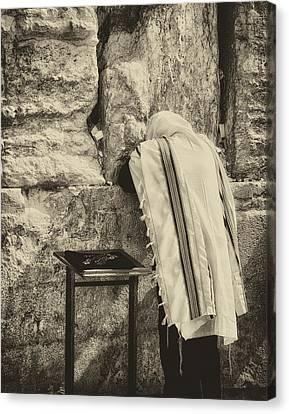 Harken Unto My Prayer O Lord Western Wall Jerusalem Antiqued Canvas Print