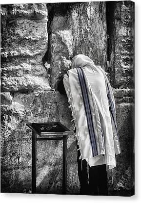 Harken Unto My Prayer O Lord Western Wall Jerusalem Bw Canvas Print