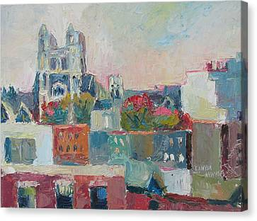 Canvas Print featuring the painting Harlem Rooftops by Linda Novick
