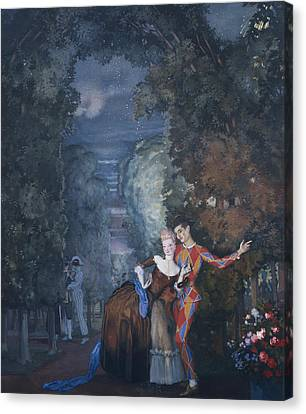 Harlequin And A Lady Canvas Print by Konstantin Andreevic Somov