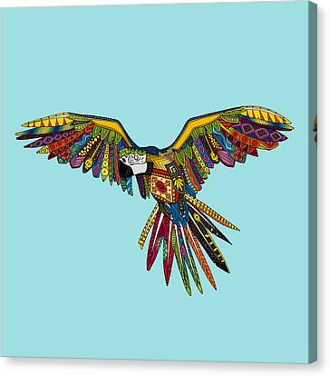 Macaw Canvas Print - Harlequin Parrot by Sharon Turner
