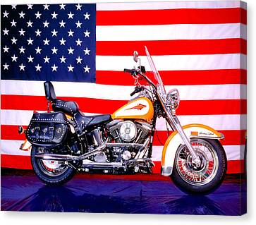 Harley And Us Flag Canvas Print