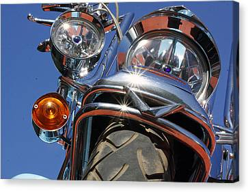 Canvas Print featuring the photograph Harley Close Up by Shoal Hollingsworth