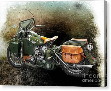 Harley Davidson 1942 Experimental Army Canvas Print by Barbara McMahon