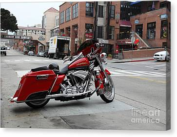 Harley Davidson At Monterey Cannery Row California 5d24765 Canvas Print by Wingsdomain Art and Photography