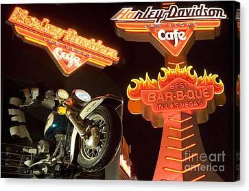 Harley Davidson Cafe Canvas Print by Bob Christopher