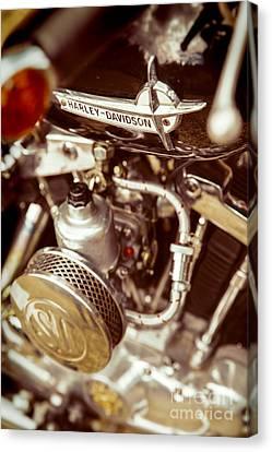 Harley Davidson Closeup Canvas Print by Carsten Reisinger