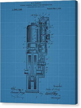 Combustion Canvas Print - Harley Davidson Engine Blueprint by Dan Sproul
