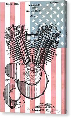 Harley Davidson Engine Patent American Flag Canvas Print