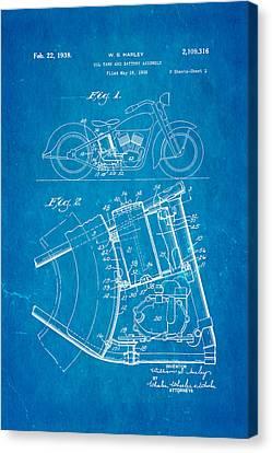 Harley Davidson Horseshoe Oil Tank Patent Art 1938 Blueprint Canvas Print by Ian Monk