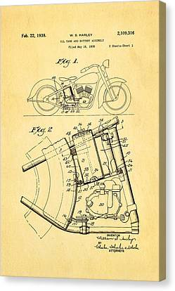 Harley Davidson Horseshoe Oil Tank Patent Art 1938 Canvas Print