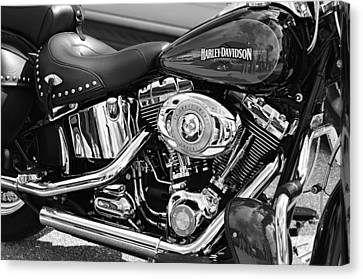 Selecting Canvas Print - Harley Davidson Monochrome by Laura Fasulo