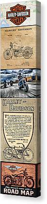 Harley-davidson Montage Canvas Print