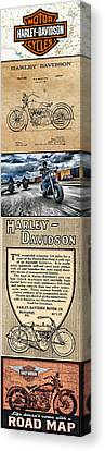 Harley-davidson Montage With Austin Map Canvas Print