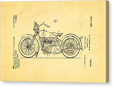 Harley Davidson Motor Cycle Support Patent Art 1928 Canvas Print