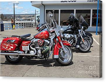 Harley-davidson Motorcycle On The Municipal Wharf At Santa Cruz Beach Boardwalk California 5d23817 Canvas Print by Wingsdomain Art and Photography