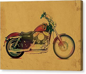 Harley Davidson Motorcycle Profile Portrait Watercolor Painting On Worn Parchment Canvas Print
