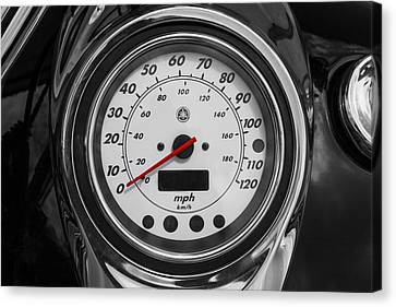 Harley Davidson Motorcycle Speedometer Harley Bike Bw  Canvas Print by Rich Franco