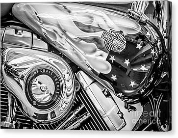 Harley Davidson Motorcycle Stars And Stripes Fuel Tank - Black And White Canvas Print by Ian Monk
