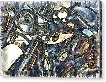 Harley Davidson Painted Canvas Print