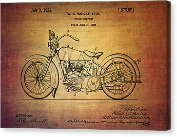 Harley Davidson Patent From 1928 Canvas Print by Eti Reid