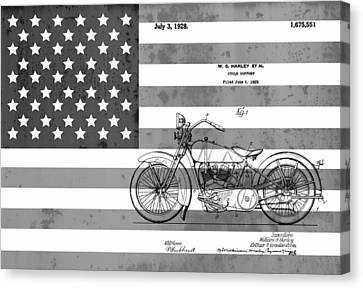 Harley Davidson Patent On Flag Canvas Print