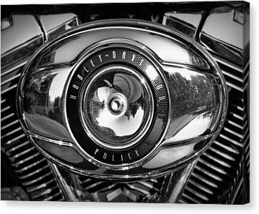 Harley-davidson Police B And W Canvas Print