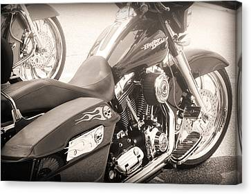 Harley Davidson With Flaming Skulls Canvas Print by Kelly Hazel
