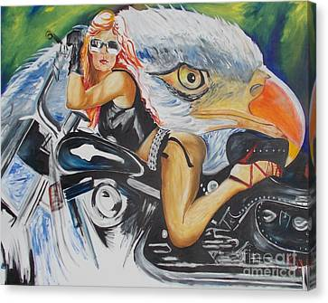 Harley Girl Canvas Print by PainterArtist FIN