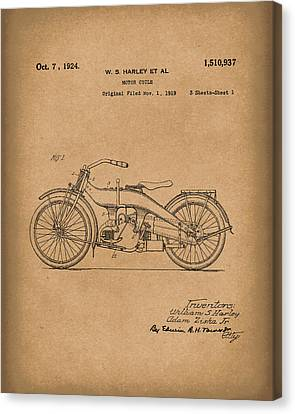 Bike Canvas Print - Harley Motorcycle 1924 Patent Art Brown by Prior Art Design