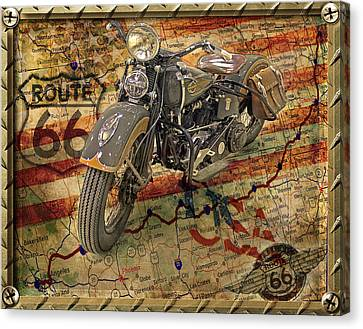 Harley On 66 Canvas Print