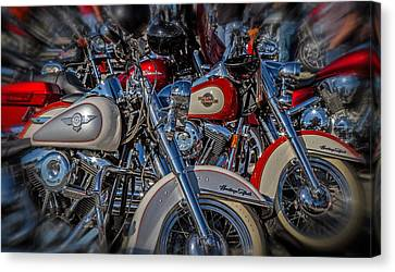 Canvas Print featuring the photograph Harley Pair by Eleanor Abramson